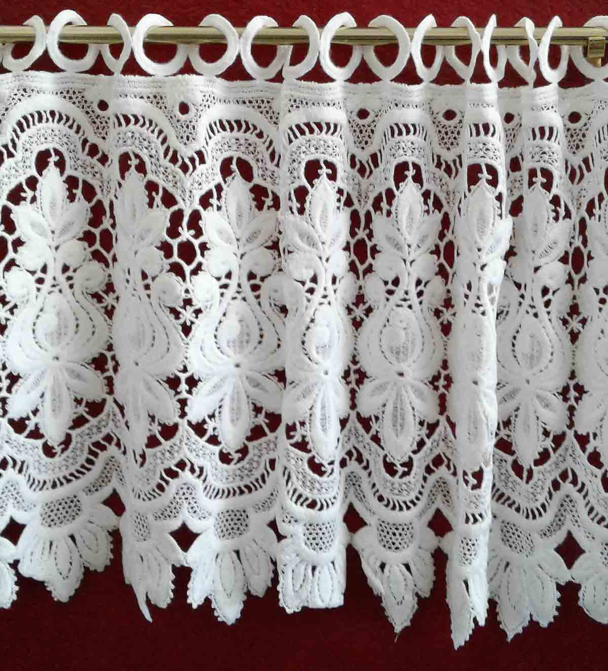 in fabric shop shabby cottages ivory scottish antique lace country the valance curtain cafe panelling cottage cotton vintage chic off panels img