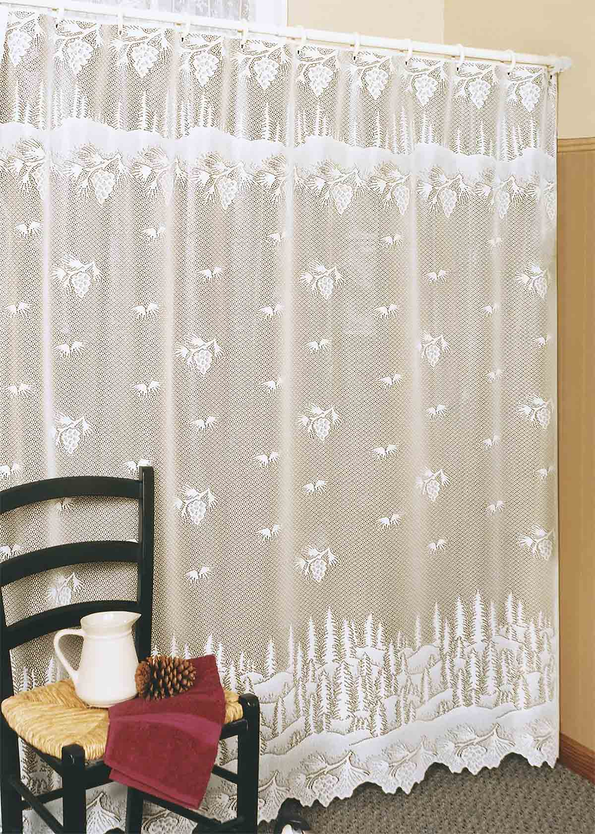 Lace Shower Curtain Pine Cone Heritage Olde Worlde Lace