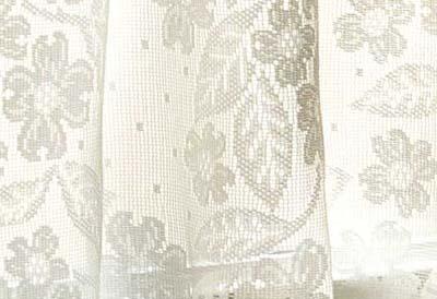Dogwood Lace Curtain Closeup of Design