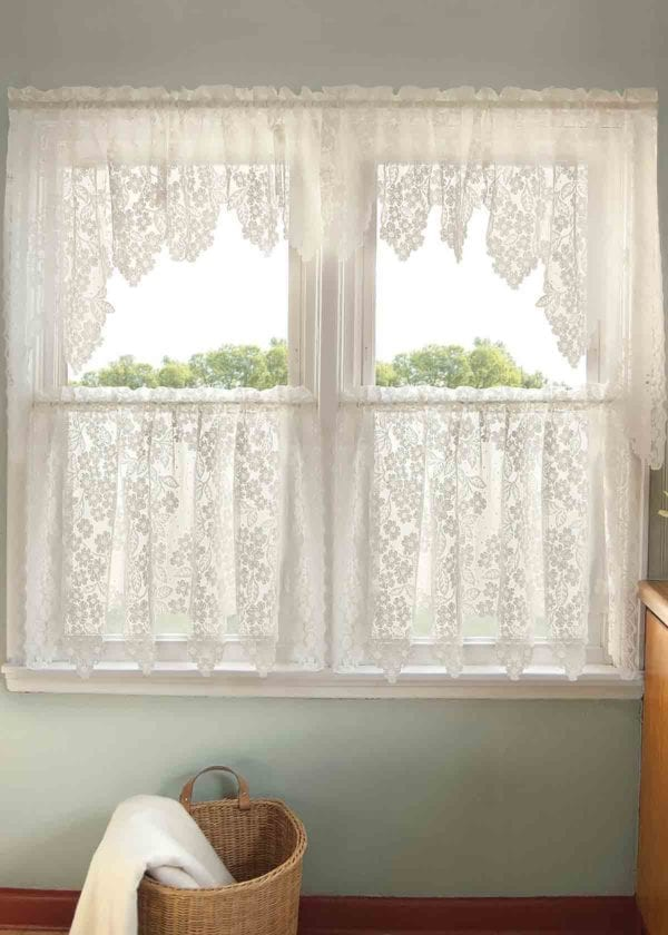 Dogwood Lace Swag Pair, Valance and Tier Design