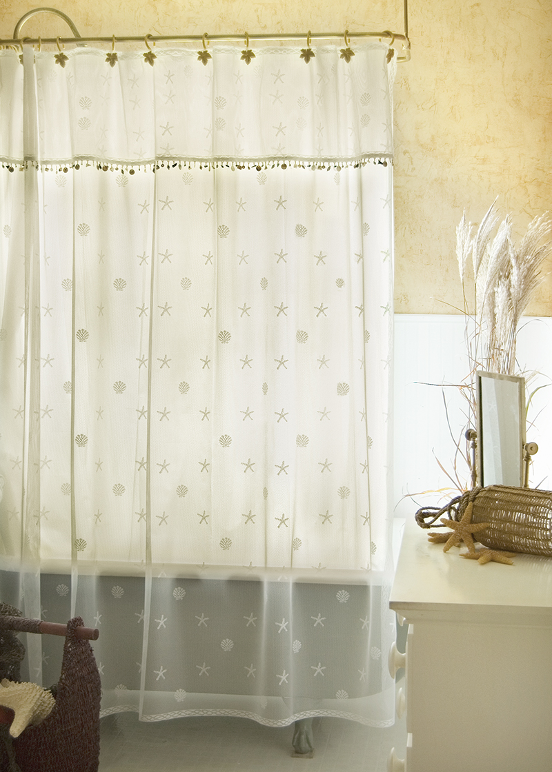 Lace Shower Curtains Sand Shell Heritage Olde Worlde